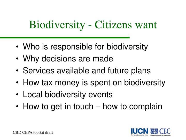 Biodiversity - Citizens want