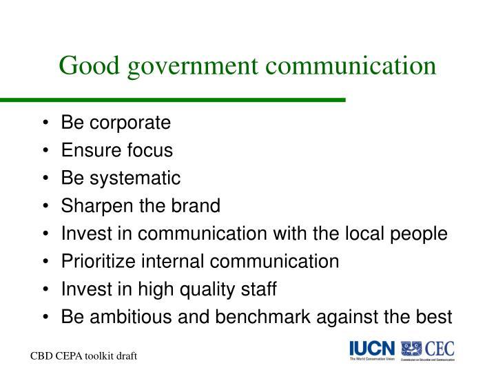 Good government communication