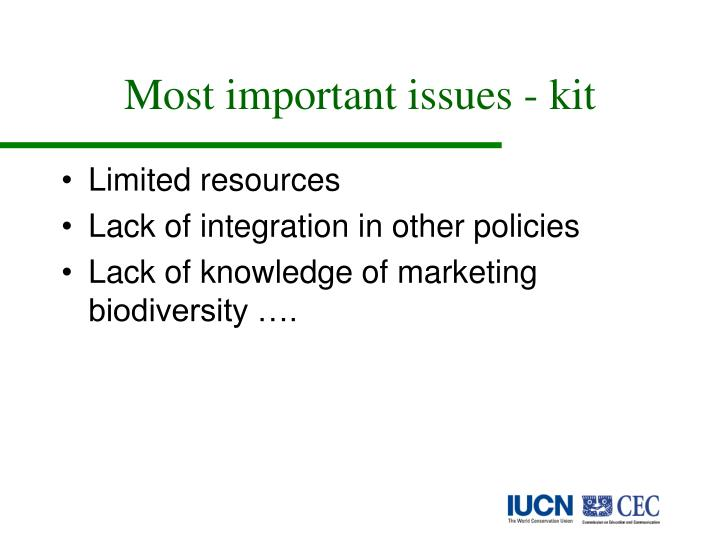 Most important issues - kit