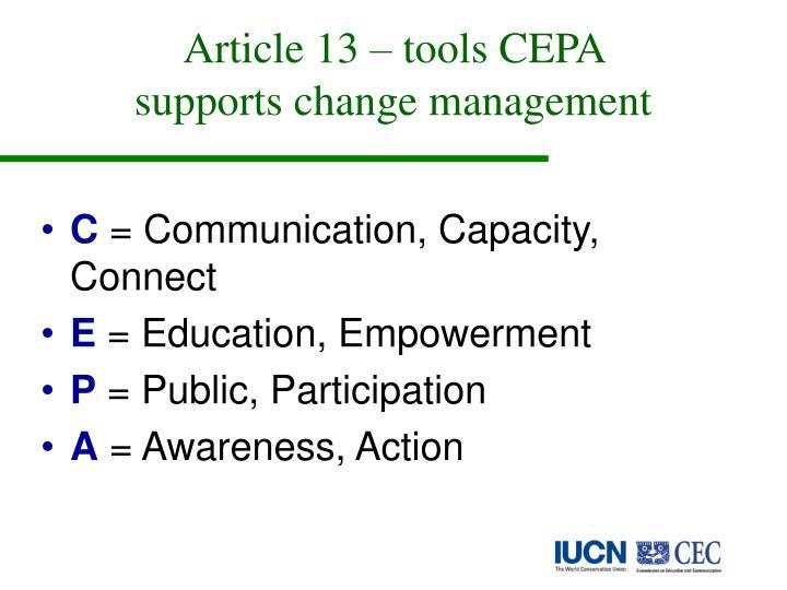 Article 13 – tools CEPA