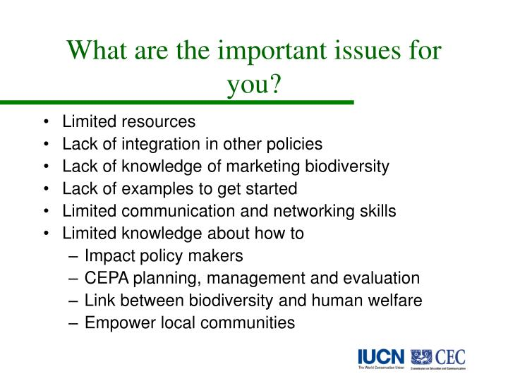 What are the important issues for you?