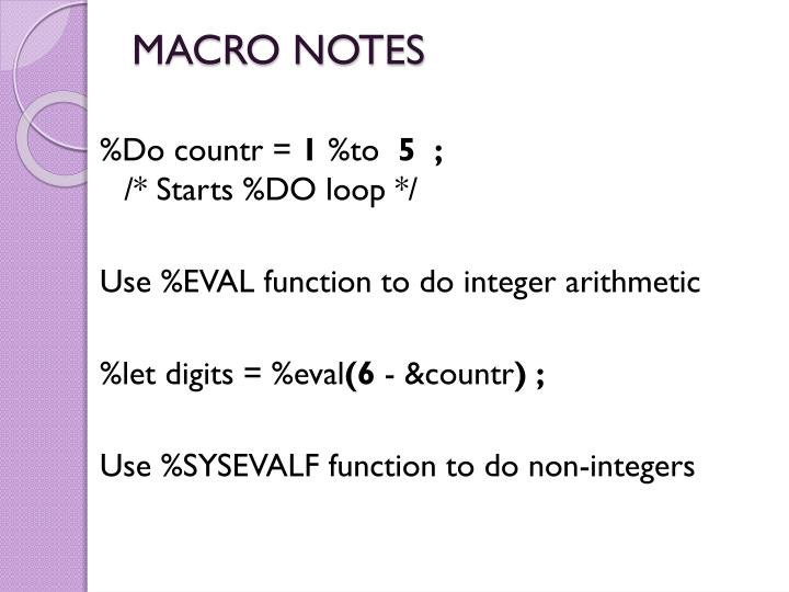 MACRO NOTES