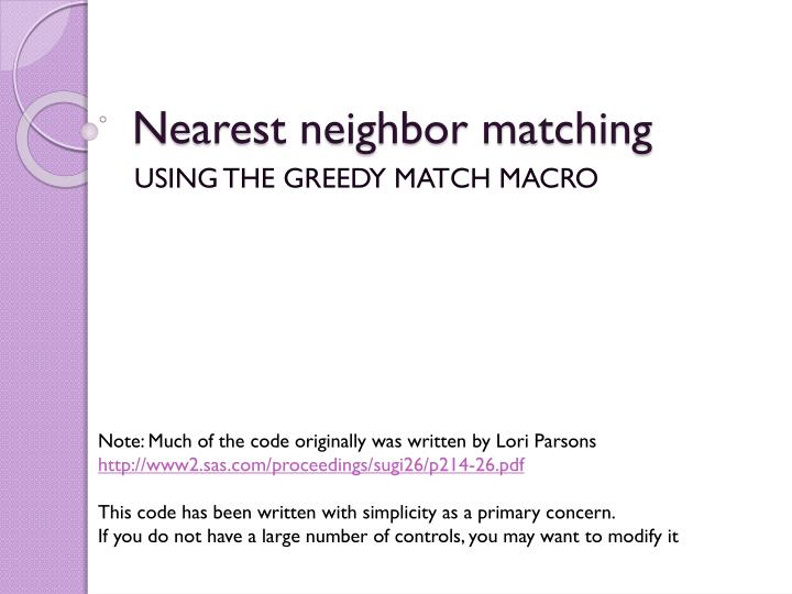 Nearest neighbor matching