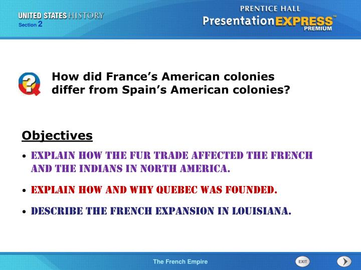 How did France's American colonies differ from Spain's American colonies?