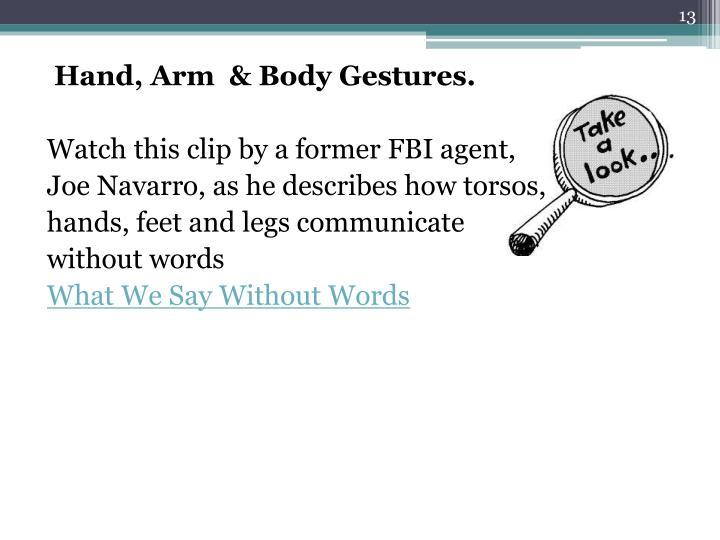 Hand, Arm  & Body Gestures.