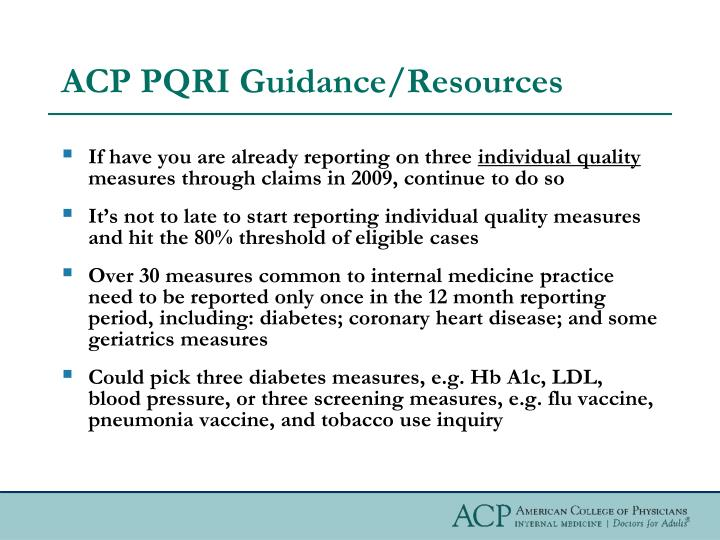 ACP PQRI Guidance/Resources