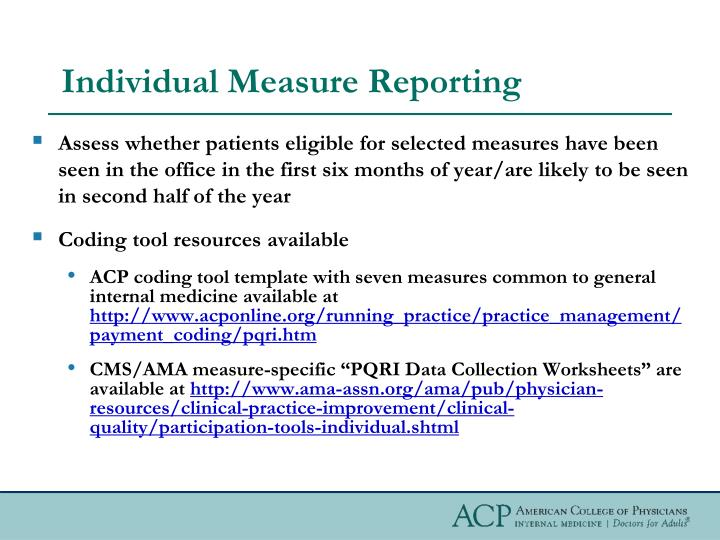 Individual Measure Reporting