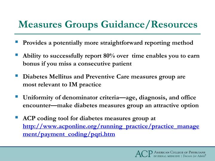 Measures Groups Guidance/Resources