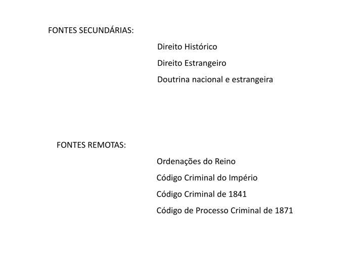 FONTES SECUNDÁRIAS: