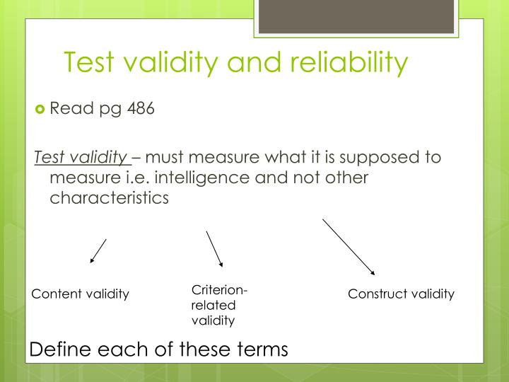 Test validity and reliability