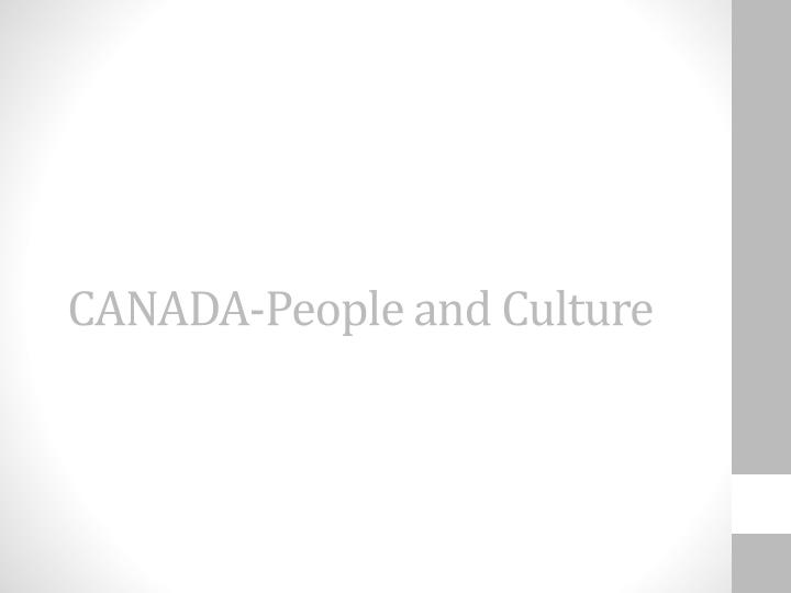 CANADA-People and Culture