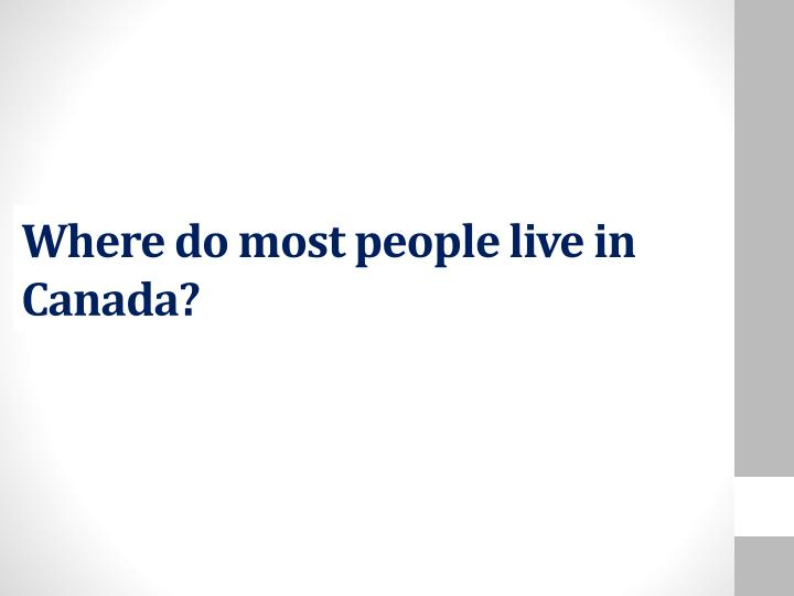 Where do most people live in Canada?