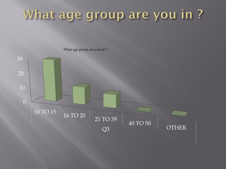 What age group are you in ?