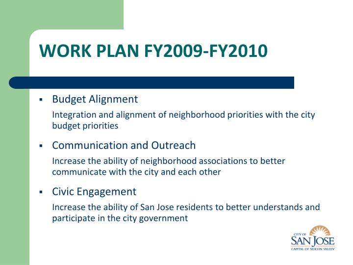 WORK PLAN FY2009-FY2010