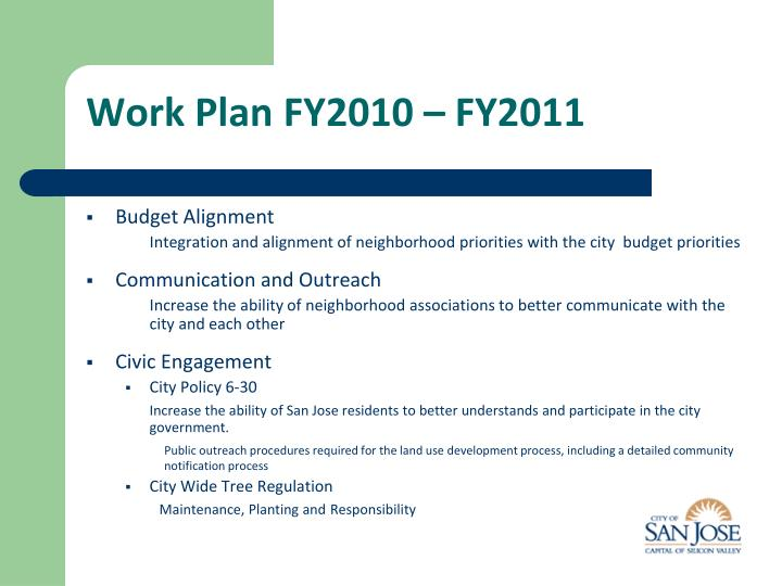 Work Plan FY2010 – FY2011
