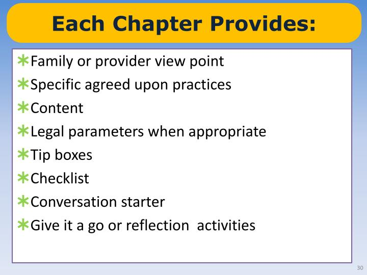 Each Chapter Provides:
