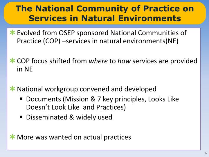 The National Community of Practice on Services in Natural Environments