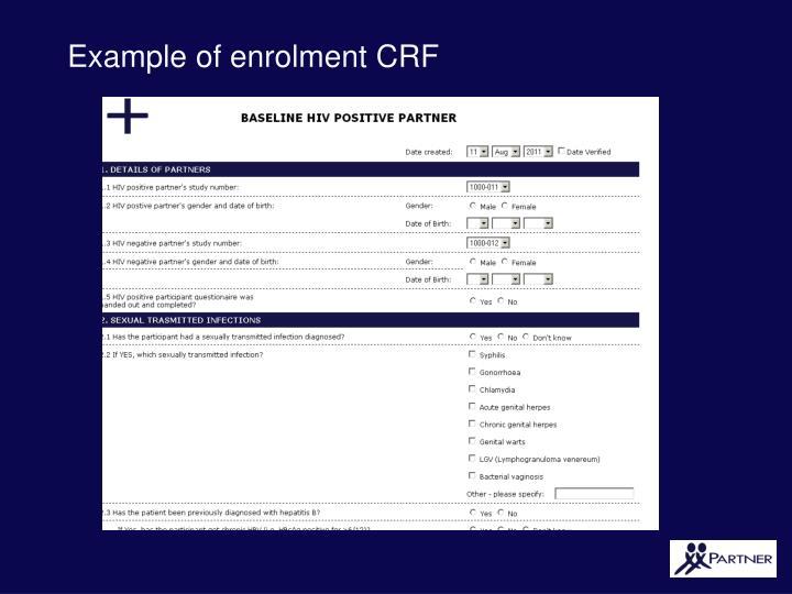 Example of enrolment CRF