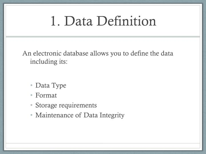 1. Data Definition