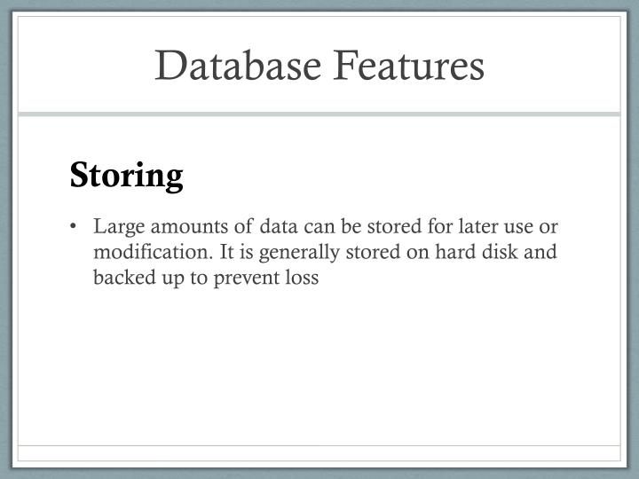 Database Features
