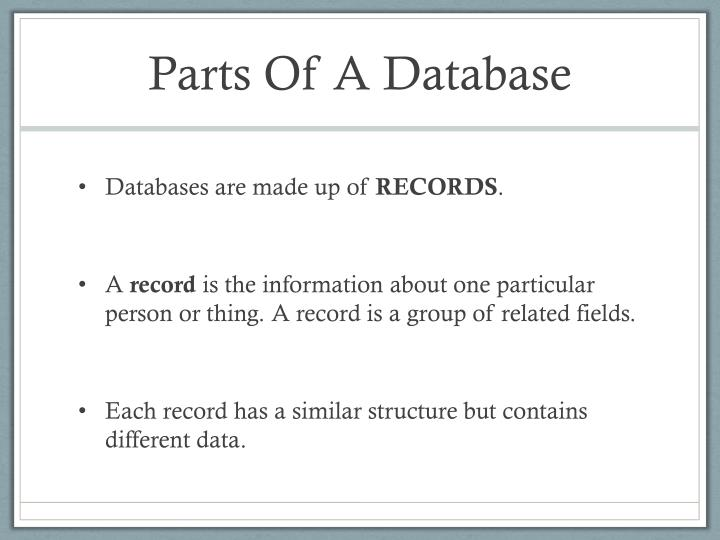 Parts Of A Database