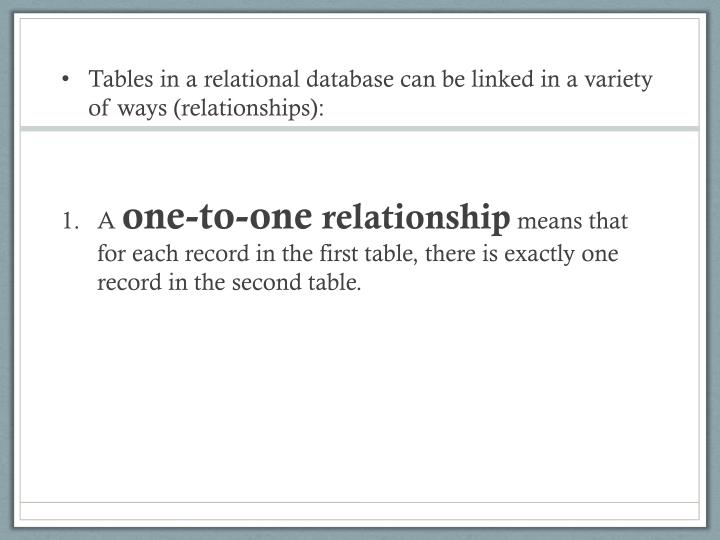 Tables in a relational database can be linked in a variety of ways (relationships