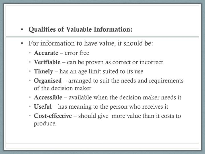 Qualities of Valuable Information: