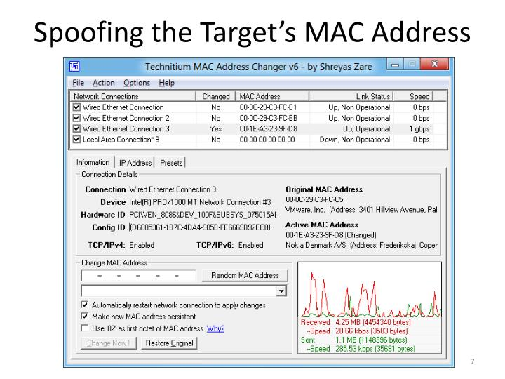 Spoofing the Target's MAC Address