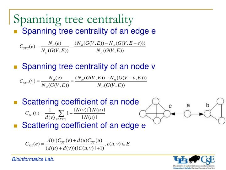 Spanning tree centrality of an edge e