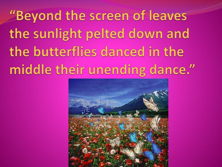 """""""Beyond the screen of leaves the sunlight pelted down and the butterflies danced in the middle their unending dance."""""""