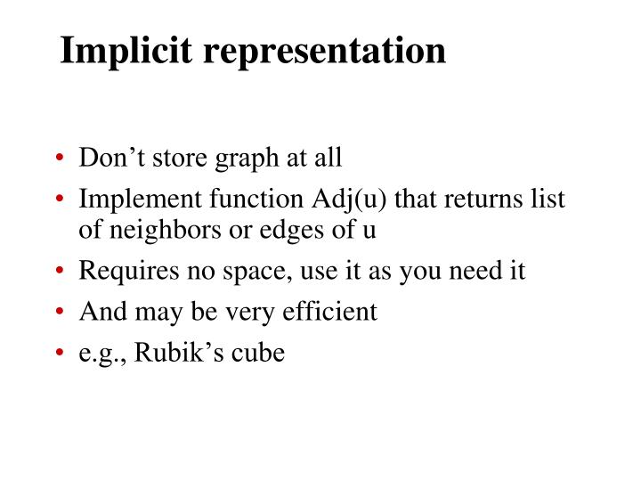Implicit representation
