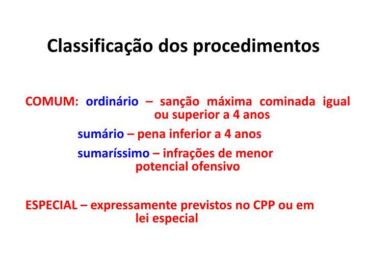 Classificação dos procedimentos