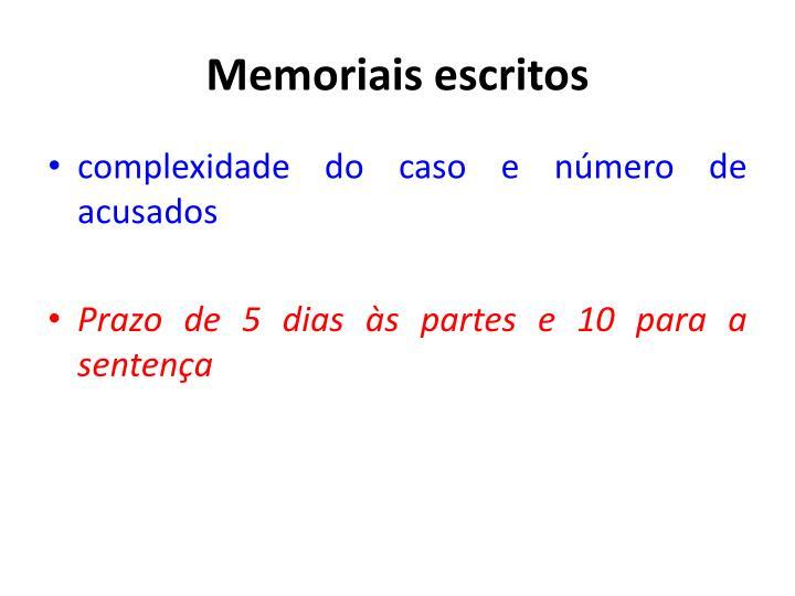 Memoriais escritos