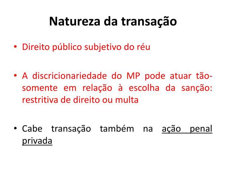 Natureza da transação