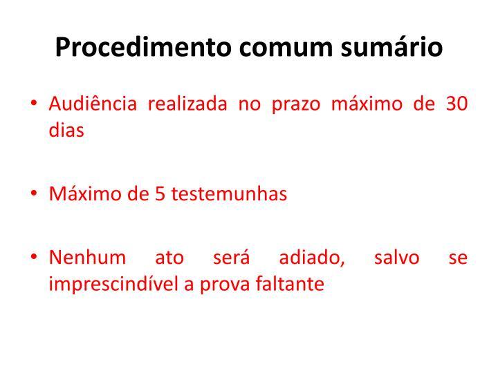 Procedimento comum sumário