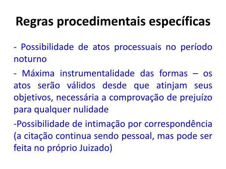 Regras procedimentais específicas