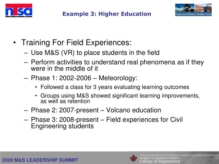 Example 3: Higher Education