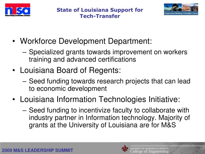 State of Louisiana Support for Tech-Transfer