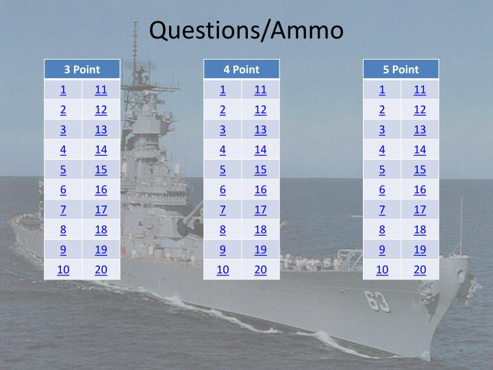 Questions/Ammo