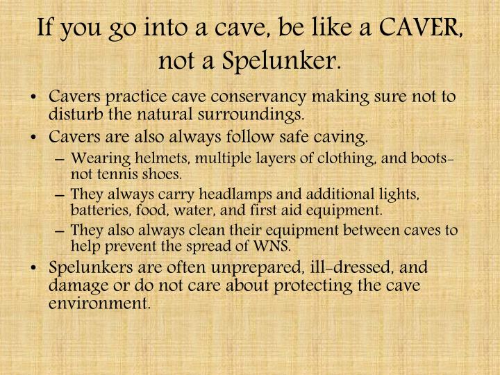 If you go into a cave, be like a CAVER, not a Spelunker.