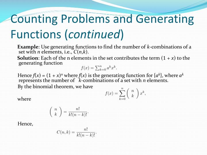 Counting Problems and Generating Functions (