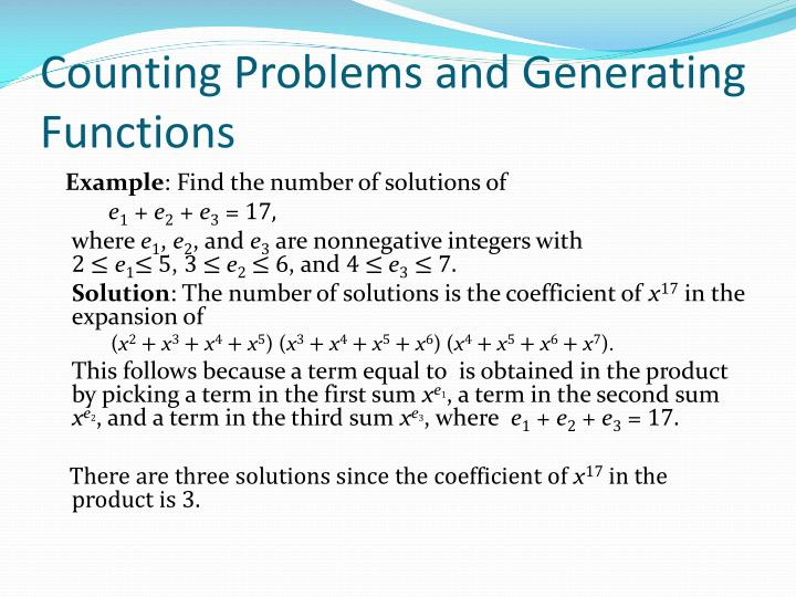 Counting Problems and Generating Functions