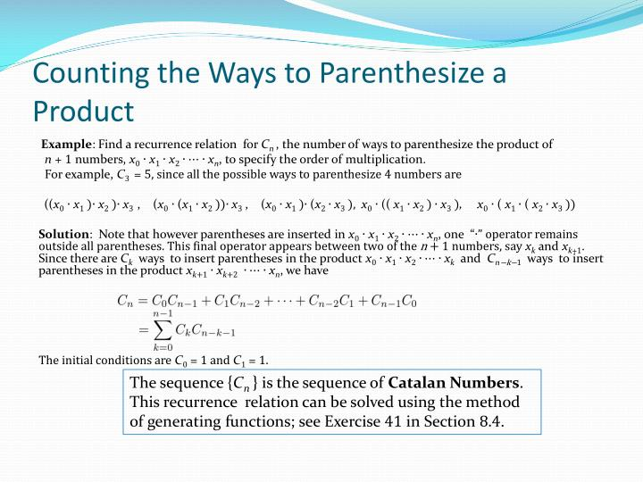 Counting the Ways to Parenthesize a Product
