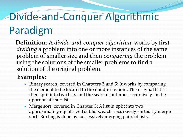 Divide-and-Conquer Algorithmic Paradigm