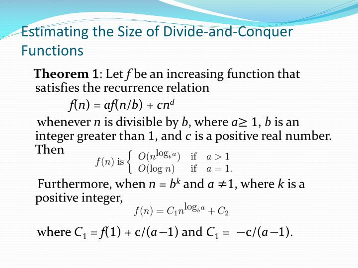 Estimating the Size of Divide-and-Conquer Functions