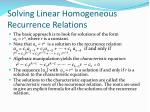 solving linear homogeneous recurrence relations