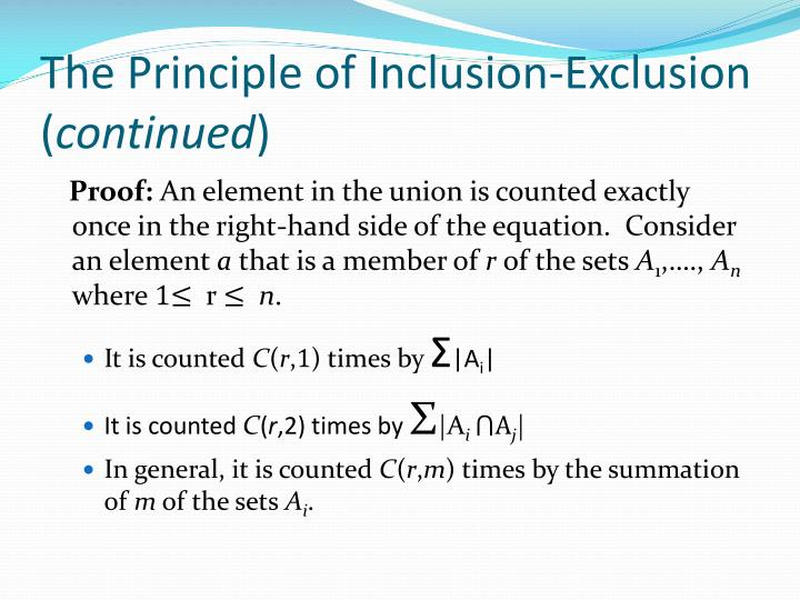 The Principle of Inclusion-Exclusion (