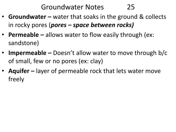 Groundwater Notes             25