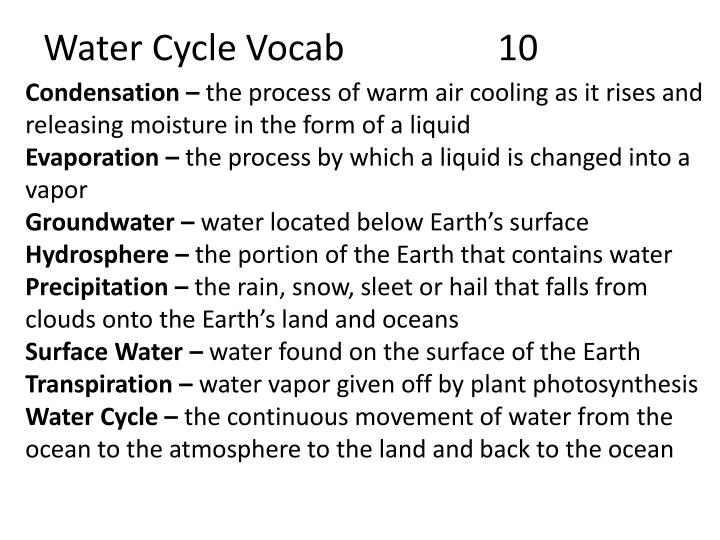 Water cycle vocab 10