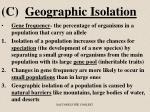c geographic isolation